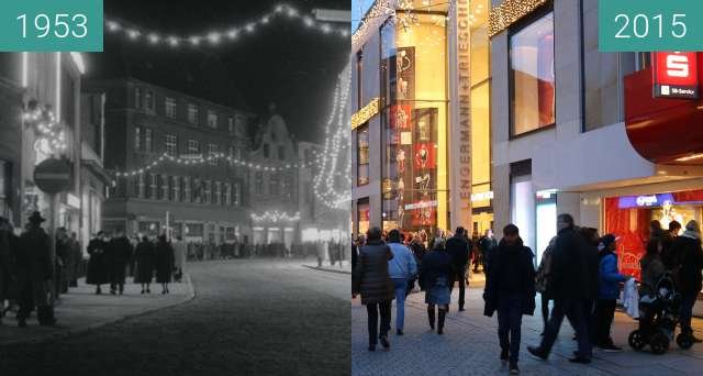 Before-and-after picture of Große Straße in der Adventszeit between 1953 and 2015-Dec-12