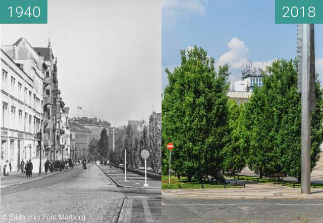 Before-and-after picture of Aleje Marcinkowskiego between 1940 and 2018