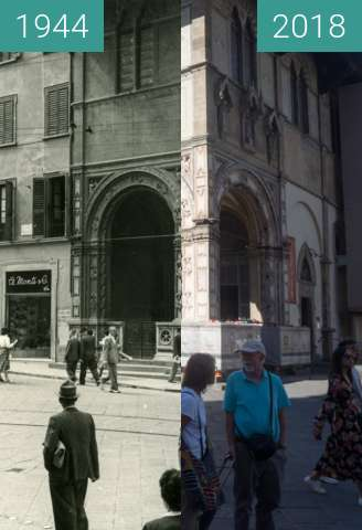 Before-and-after picture of Florence, Italy 1944/2018, Loggia del Bigallo between 07/1944 and 2018-May-20