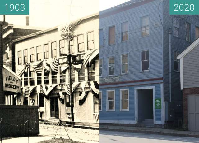 Before-and-after picture of Thompson Manufacturing Co., Belfast, Maine between 1903 and 2020