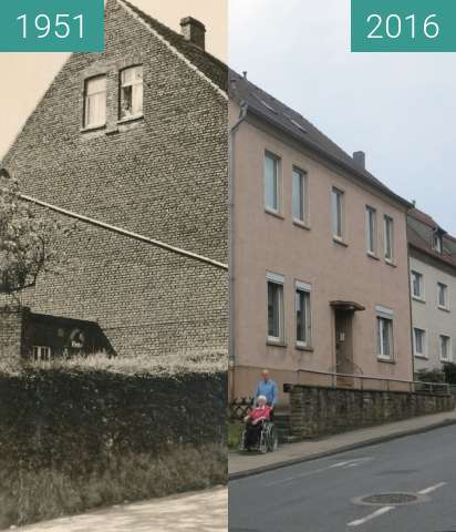 Before-and-after picture of Haus Höffken between 1951-Sep-07 and 2016-Jun-12