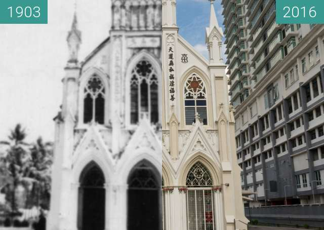 Before-and-after picture of Holy Rosary Church between 1903 and 2016-Jul-29