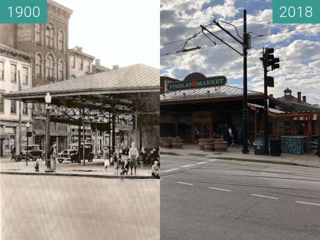 Before-and-after picture of Findlay Market between 1900 and 2018