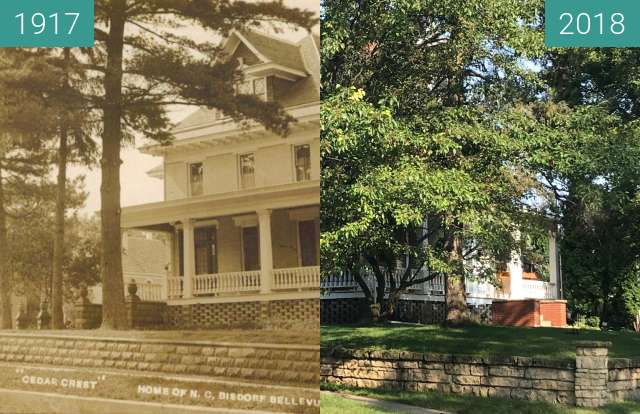 """Before-and-after picture of """"Cedar Crest Home"""" In Bellevue, Iowa between 1917 and 2018-Aug-21"""