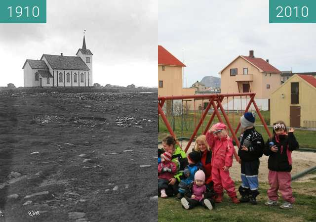 Before-and-after picture of Røstlandet between 1910 and 2010