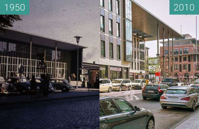 Before-and-after picture of Aschaffenburg - Hauptbahnhof mit Hauptpostamt between 1950 and 2010
