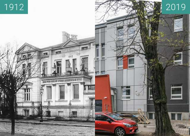 Before-and-after picture of Ulica Gąsiorowskich between 1912 and 2019