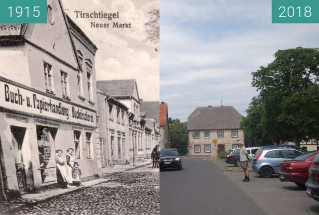 Before-and-after picture of Plac Zjednoczenia Narodowego, Trzciel between 1915 and 2018-Jun-09