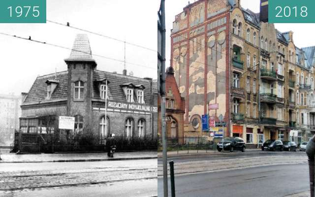 "Before-and-after picture of Stare przejście dla pieszych przy ""Sołtysówce"" between 1975 and 2018-May-12"