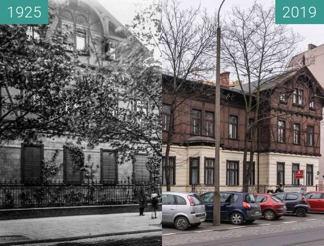Before-and-after picture of Ulica Dąbrowskiego between 1925 and 2019-Mar-07