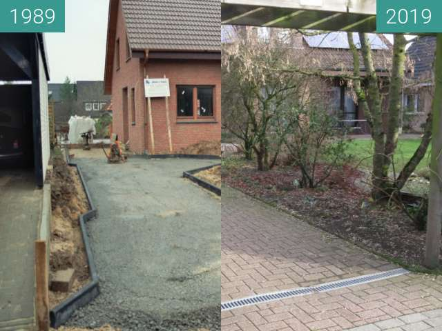 Before-and-after picture of Garagenauffahrt between 1989-Jan-09 and 2019-Jan-09