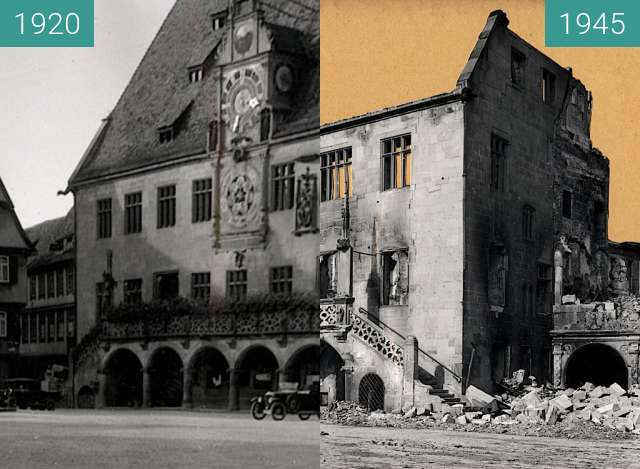 Before-and-after picture of Heilbronn Rathaus between 1920 and 1945