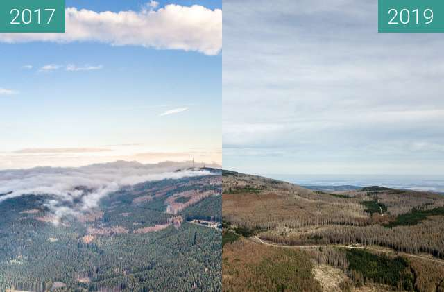 Before-and-after picture of Der Brocken im Harz und der Borkenkäfer between 2017-May-15 and 2019-Sep-15