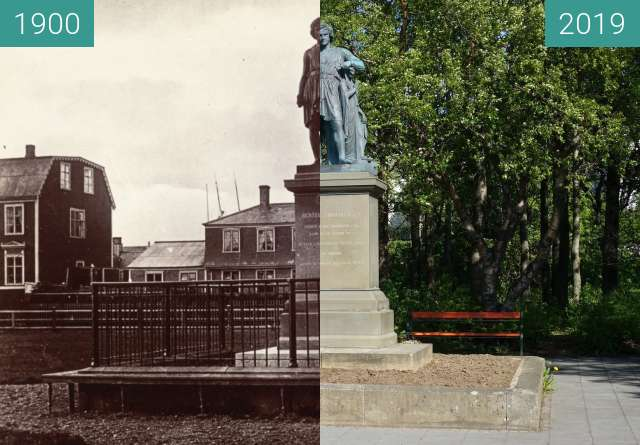 Before-and-after picture of Thorvaldsen's monument between 1900 and 2019-May-27
