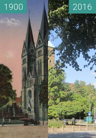 Before-and-after picture of Herz-Jesu-Kirche between 1900 and 2016-Aug-31