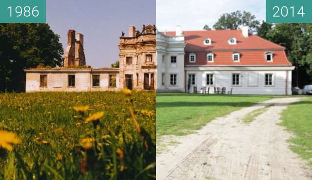 Before-and-after picture of Pałac w Rusinowie between 1986 and 2014