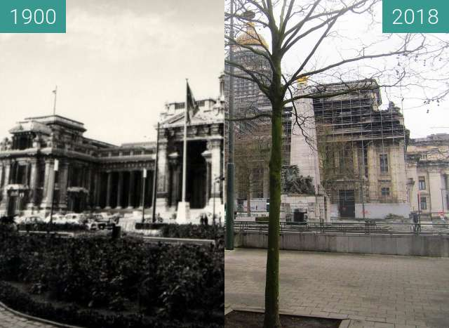 Before-and-after picture of Supreme Court (Brussels) between 1900 and 2018-Apr-01