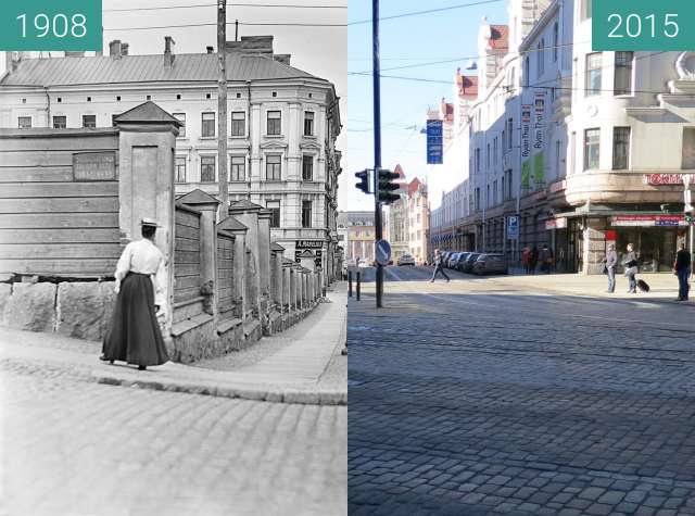 Before-and-after picture of Kaisaniemi, Helsinki, Finland between 1908 and 2015-Mar-15