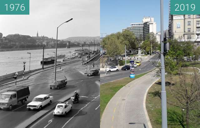 Before-and-after picture of Petőfi tér and Március 15. tér in Budapest between 1976 and 2019-Apr-20