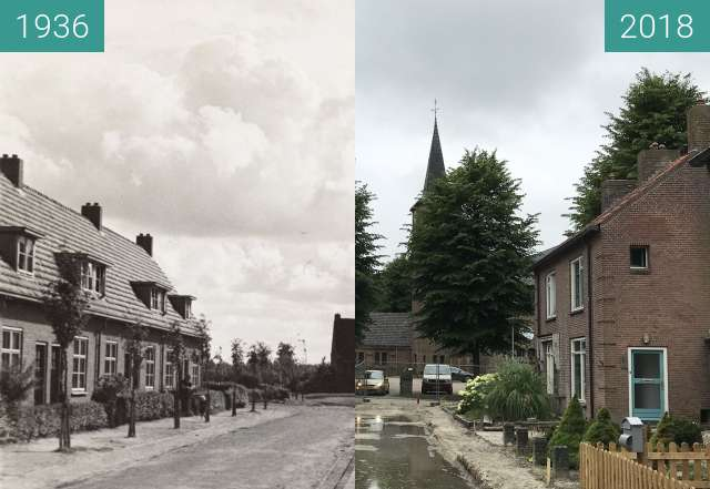 Before-and-after picture of The Torenstraat in the village of Middenmeer between 1936 and 2018-Jun-19
