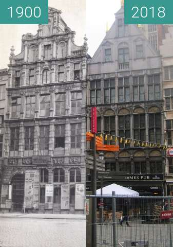 Before-and-after picture of Houses at Grote Markt between 1900 and 2018-Apr-02