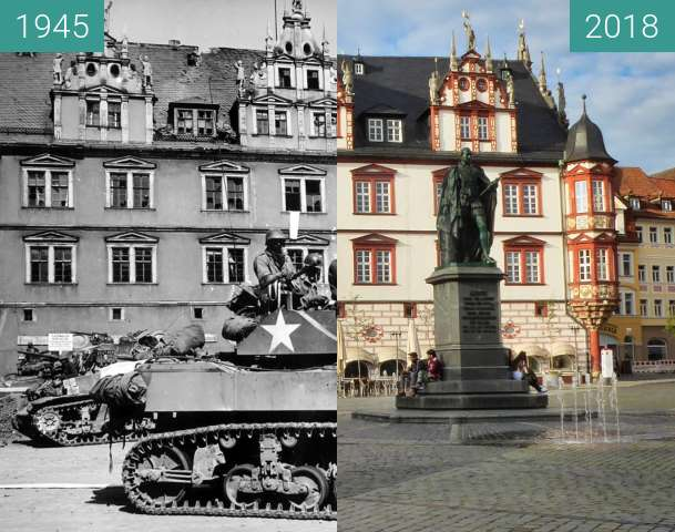 Before-and-after picture of Rathaus Coburg between 1945-Apr-25 and 2018-Jun-19