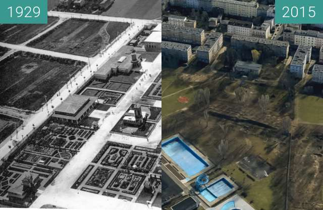Before-and-after picture of Powszechna Wystawa Krajowa PeWuKa 1929 between 1929 and 2015