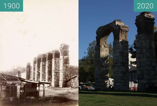 Before-and-after picture of Selçuk Byzantine Aqueduct between 1870 and 2020-Oct-10