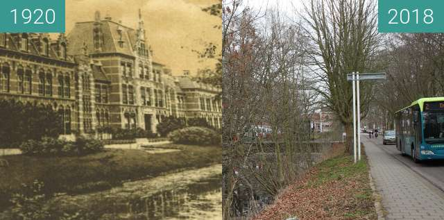 Before-and-after picture of former military school between 1920 and 2018-Mar-12