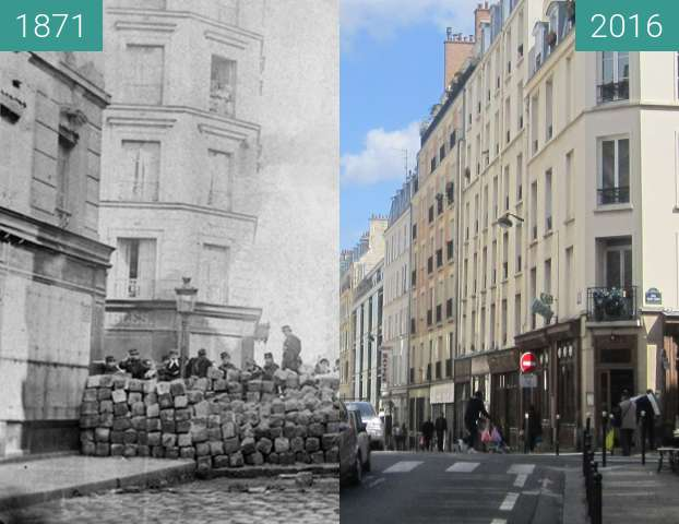 Before-and-after picture of Rue Sedaine (Pariser Kommune) between 1871-Mar-18 and 2016-Apr-03
