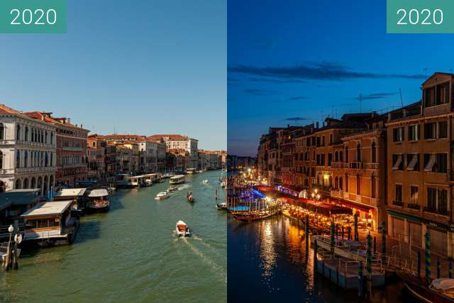 Before-and-after picture of Venedig, Blick von der Rialto-Brücke between 2020-Jul-19 and 2020-Jul-19