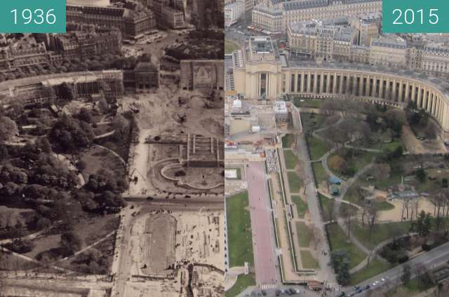 Before-and-after picture of Palais de Chaillot between 1936 and 2015-Feb-22