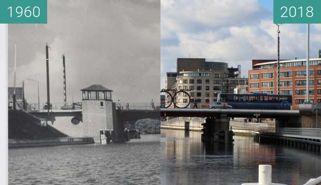 Before-and-after picture of Friesebrug Alkmaar between 1960 and 2018-Feb-27
