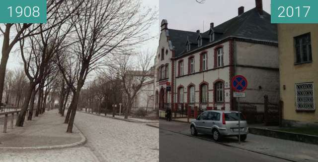 Before-and-after picture of Post Office Gryfice between 1908-Nov-30 and 2017-Nov-30