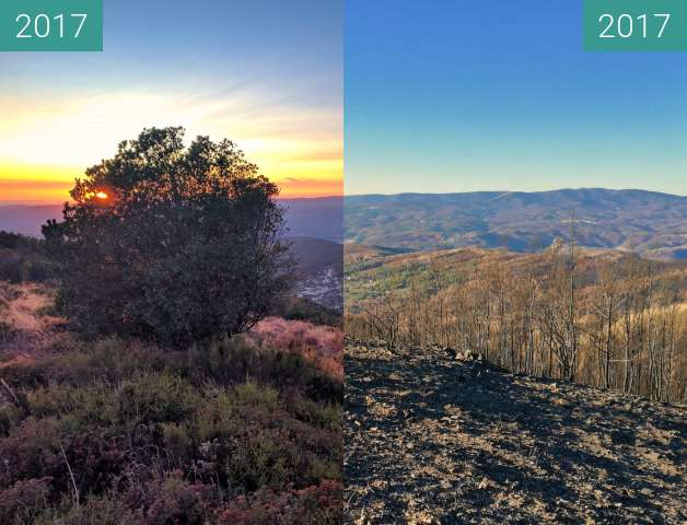 Before-and-after picture of Portuguese landscape after a wildfire between 2017-Aug-23 and 2017-Nov-19