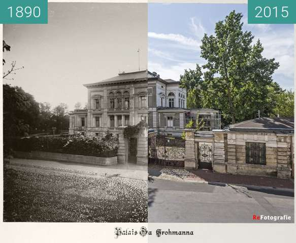 Before-and-after picture of Grohmann's Palace between 1890 and 2015