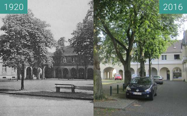 Before-and-after picture of Brunnenplatz (Miner's settlement Fürst Leopold) between 1920 and 2016-Aug-27