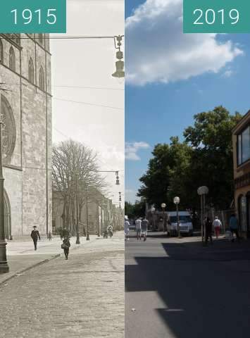 Before-and-after picture of Johanisstraße Osnabrück between 1915 and 2019-Jun-21