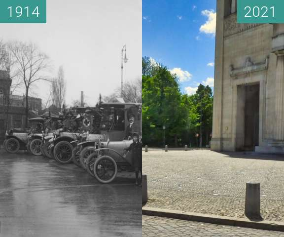 Before-and-after picture of München; Sanitätszug Propyläen between 1914 and 2021-May-25