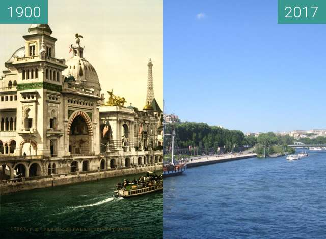 Before-and-after picture of Quai des Nations between 1900 and 2017-Jun-10