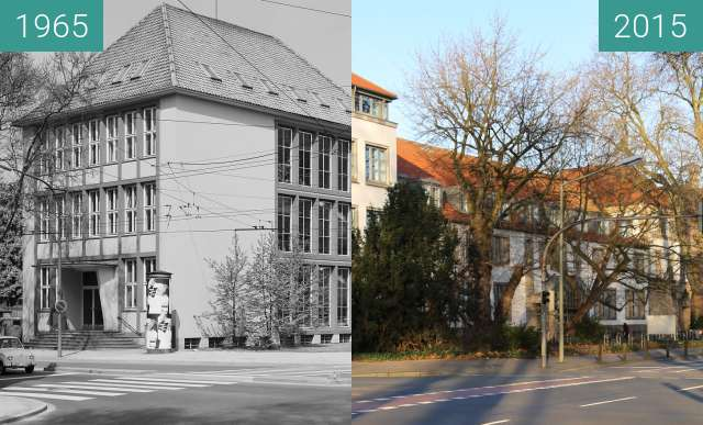 Before-and-after picture of Mädchengymnasium between 1965 and 2015-Dec-30