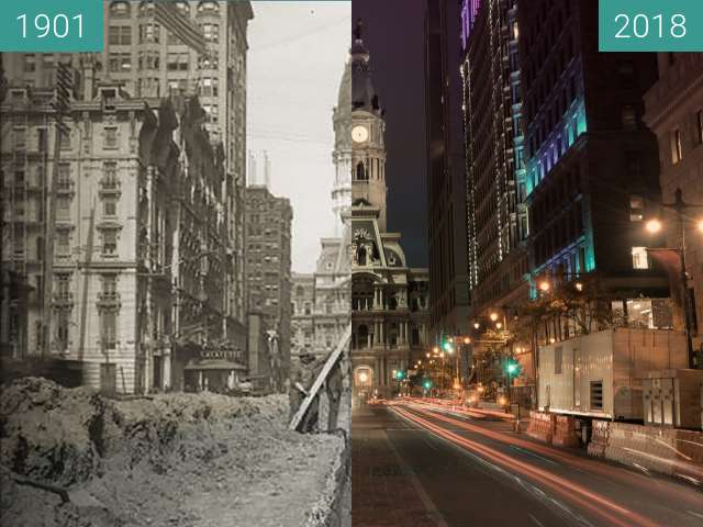 Before-and-after picture of Philadelphia City Hall between 1901-Oct-23 and 2018-Aug-13
