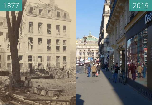 Before-and-after picture of Avenue de l'Opera between 1877 and 2019-Feb-16