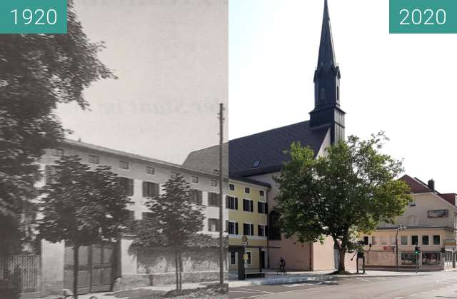 Before-and-after picture of Klosterkirche Traunstein between 1920 and 09/2020