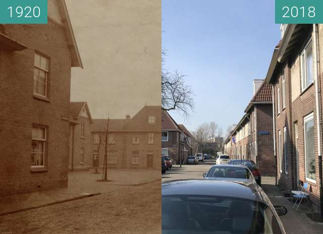 Before-and-after picture of Eikelenbergstraat Alkmaar between 1920 and 2018-Mar-14