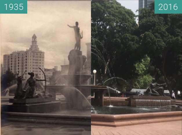 Before-and-after picture of Hyde Park's Archibald Fountain between 1935 and 2016