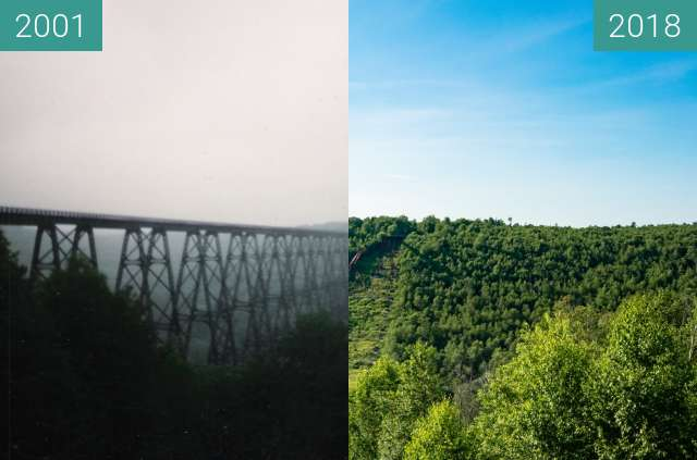 Before-and-after picture of Kinzua Bridge State Park. between 2001 and 2018-Jul-13