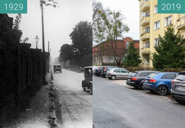 Before-and-after picture of Ulica Ułańska between 07/1929 and 2019-Jan-12