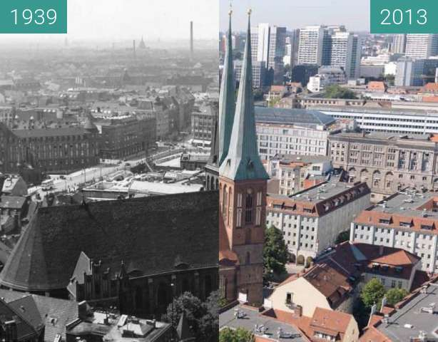 Before-and-after picture of Berlin - Nikolaikirche 1939/2013 between 1939 and 2013