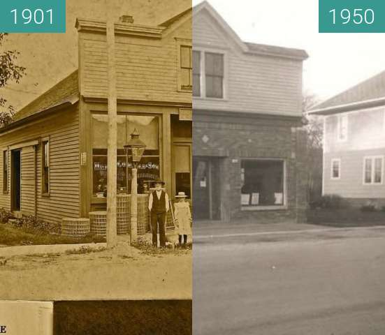 Before-and-after picture of Conrad Store between 1901 and 1950